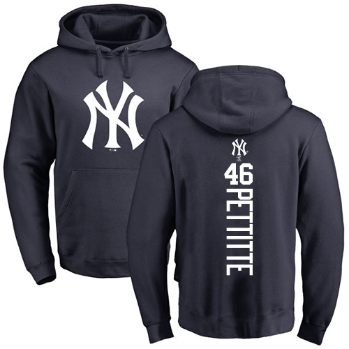 MLB Nike New York Yankees #46 Andy Pettitte Navy Blue Backer Pullover Hoodie