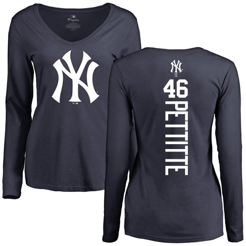 MLB Women's Nike New York Yankees #46 Andy Pettitte Navy Blue Backer Long Sleeve T-Shirt