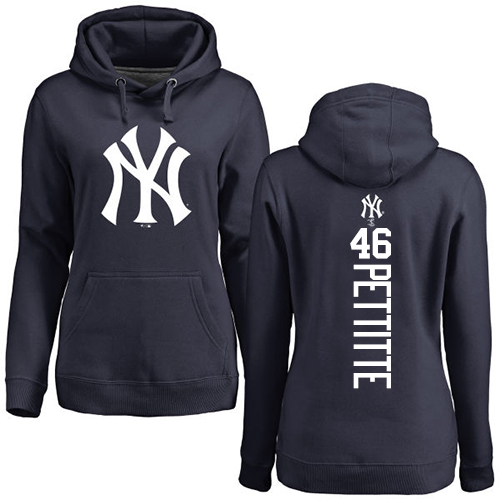 MLB Women's Nike New York Yankees #46 Andy Pettitte Navy Blue Backer Pullover Hoodie