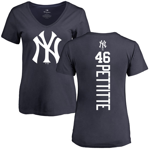 MLB Women's Nike New York Yankees #46 Andy Pettitte Navy Blue Backer T-Shirt