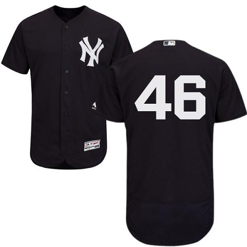 Men's Majestic New York Yankees #46 Andy Pettitte Navy Blue Alternate Flex Base Authentic Collection MLB Jersey