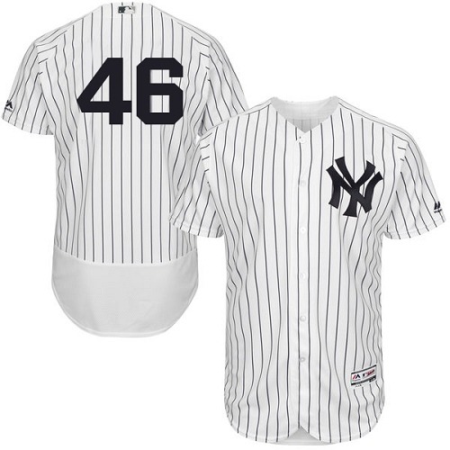 Men's Majestic New York Yankees #46 Andy Pettitte White Home Flex Base Authentic Collection MLB Jersey