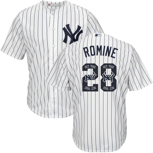 Men's Majestic New York Yankees #28 Austin Romine Authentic White Team Logo Fashion MLB Jersey
