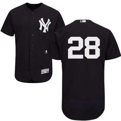 Men's Majestic New York Yankees #28 Austin Romine Navy Blue Alternate Flex Base Authentic Collection MLB Jersey