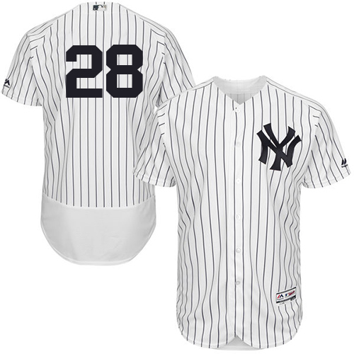 Men's Majestic New York Yankees #28 Austin Romine White Home Flex Base Authentic Collection MLB Jersey