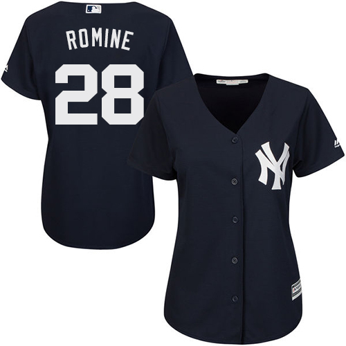 Women's Majestic New York Yankees #28 Austin Romine Authentic Navy Blue Alternate MLB Jersey
