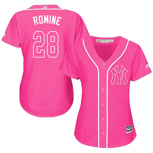 Women's Majestic New York Yankees #28 Austin Romine Authentic Pink Fashion Cool Base MLB Jersey