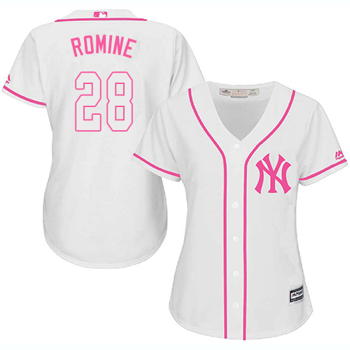Women's Majestic New York Yankees #28 Austin Romine Authentic White Fashion Cool Base MLB Jersey