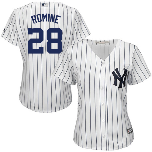 Women's Majestic New York Yankees #28 Austin Romine Authentic White Home MLB Jersey