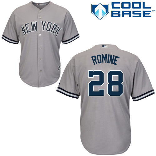 Youth Majestic New York Yankees #28 Austin Romine Authentic Grey Road MLB Jersey