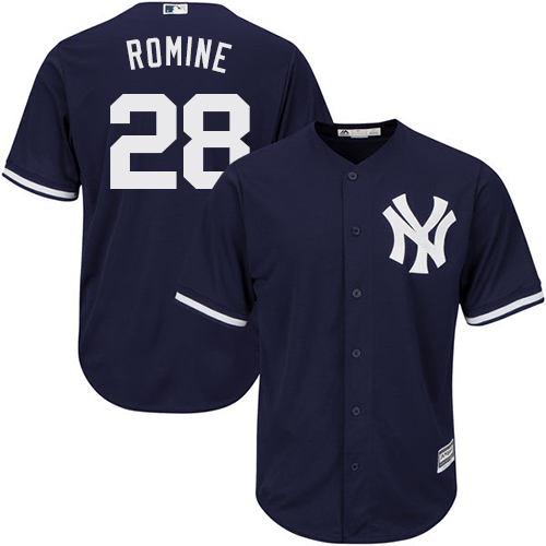 Youth Majestic New York Yankees #28 Austin Romine Authentic Navy Blue Alternate MLB Jersey