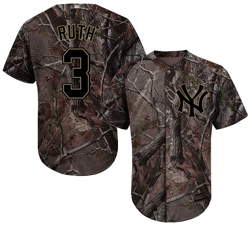 Men's Majestic New York Yankees #3 Babe Ruth Authentic Camo Realtree Collection Flex Base MLB Jersey
