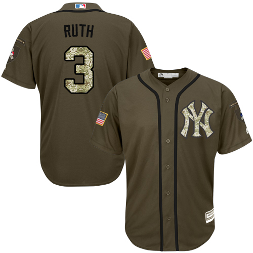 Men's Majestic New York Yankees #3 Babe Ruth Authentic Green Salute to Service MLB Jersey