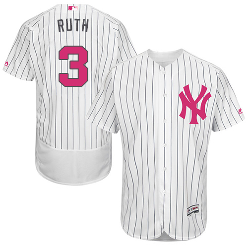 Men's Majestic New York Yankees #3 Babe Ruth Authentic White 2016 Mother's Day Fashion Flex Base MLB Jersey
