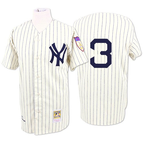 Men's Mitchell and Ness 1929 New York Yankees #3 Babe Ruth Authentic White Throwback MLB Jersey