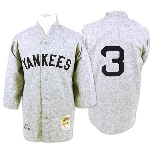 Men's Mitchell and Ness 1929 New York Yankees #3 Babe Ruth Replica Grey Throwback MLB Jersey