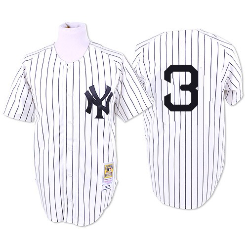 Men's Mitchell and Ness 1932 New York Yankees #3 Babe Ruth Authentic White Throwback MLB Jersey