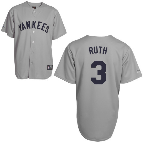 Men's Mitchell and Ness New York Yankees #3 Babe Ruth Replica Grey Throwback MLB Jersey