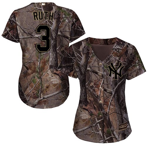 Women's Majestic New York Yankees #3 Babe Ruth Authentic Camo Realtree Collection Flex Base MLB Jersey