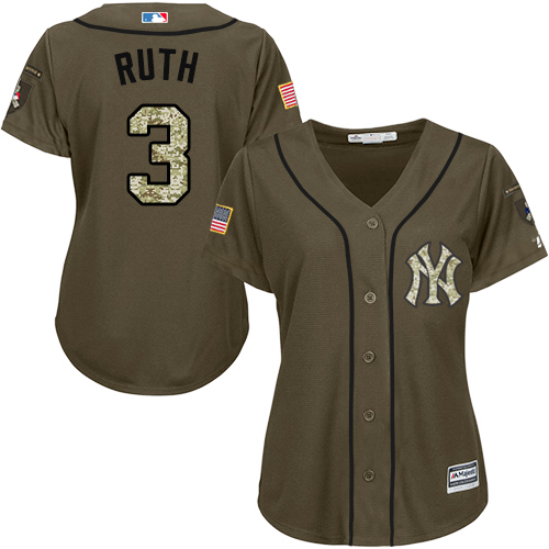 Women's Majestic New York Yankees #3 Babe Ruth Authentic Green Salute to Service MLB Jersey