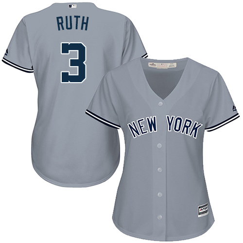 Women's Majestic New York Yankees #3 Babe Ruth Authentic Grey Road MLB Jersey