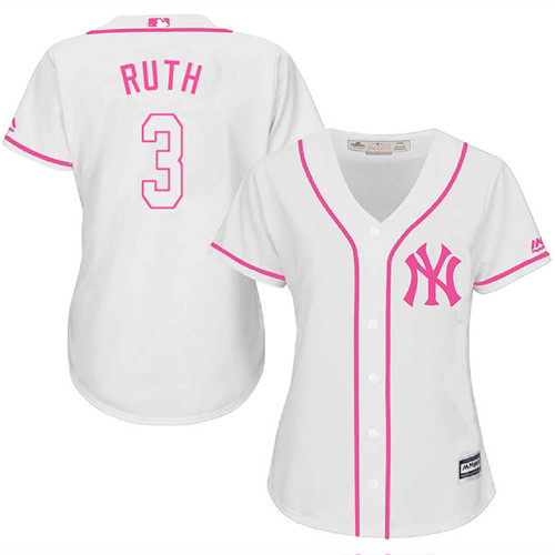 Women's Majestic New York Yankees #3 Babe Ruth Authentic White Fashion Cool Base MLB Jersey