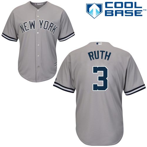 Youth Majestic New York Yankees #3 Babe Ruth Authentic Grey Road MLB Jersey
