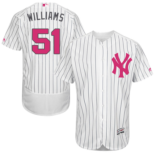 Men's Majestic New York Yankees #51 Bernie Williams Authentic White 2016 Mother's Day Fashion Flex Base MLB Jersey