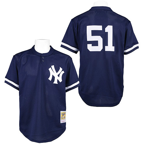 Men's Mitchell and Ness 1995 New York Yankees #51 Bernie Williams Authentic Blue Throwback MLB Jersey