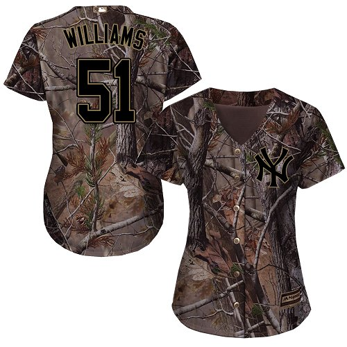 Women's Majestic New York Yankees #51 Bernie Williams Authentic Camo Realtree Collection Flex Base MLB Jersey