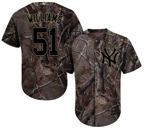 Youth Majestic New York Yankees #51 Bernie Williams Authentic Camo Realtree Collection Flex Base MLB Jersey