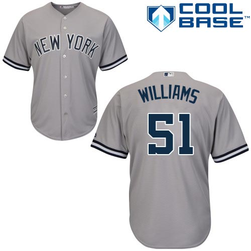 Youth Majestic New York Yankees #51 Bernie Williams Authentic Grey Road MLB Jersey