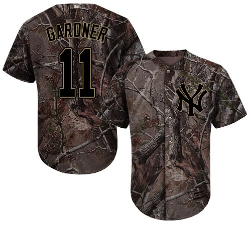 Youth Majestic New York Yankees #11 Brett Gardner Authentic Camo Realtree Collection Flex Base MLB Jersey