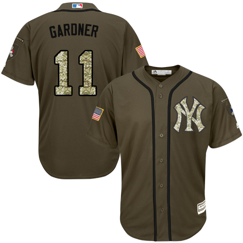 Youth Majestic New York Yankees #11 Brett Gardner Authentic Green Salute to Service MLB Jersey