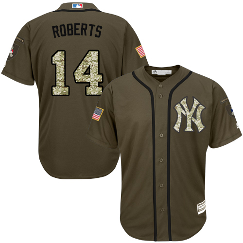 Men's Majestic New York Yankees #14 Brian Roberts Authentic Green Salute to Service MLB Jersey