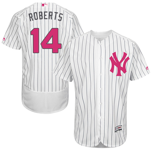 Men's Majestic New York Yankees #14 Brian Roberts Authentic White 2016 Mother's Day Fashion Flex Base MLB Jersey