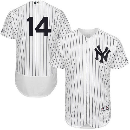 Men's Majestic New York Yankees #14 Brian Roberts White Home Flex Base Authentic Collection MLB Jersey
