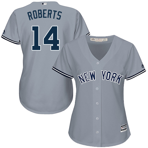 Women's Majestic New York Yankees #14 Brian Roberts Authentic Grey Road MLB Jersey