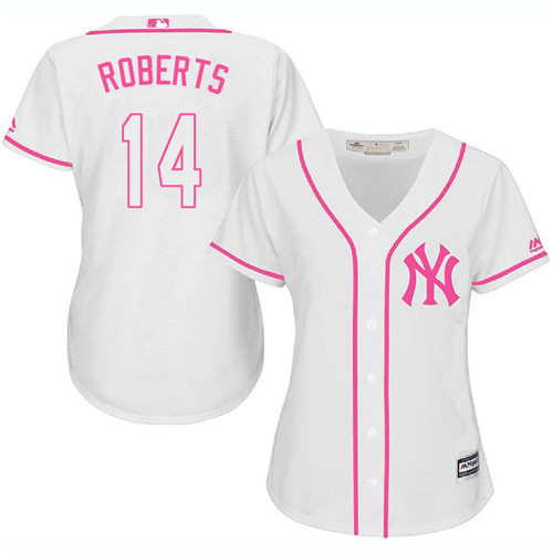 Women's Majestic New York Yankees #14 Brian Roberts Authentic White Fashion Cool Base MLB Jersey