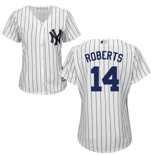 Women's Majestic New York Yankees #14 Brian Roberts Authentic White Home MLB Jersey