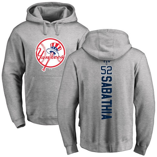 MLB Nike New York Yankees #52 C.C. Sabathia Ash Backer Pullover Hoodie