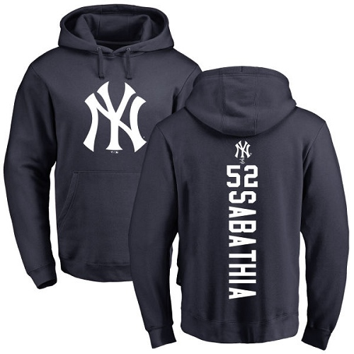 MLB Nike New York Yankees #52 C.C. Sabathia Navy Blue Backer Pullover Hoodie
