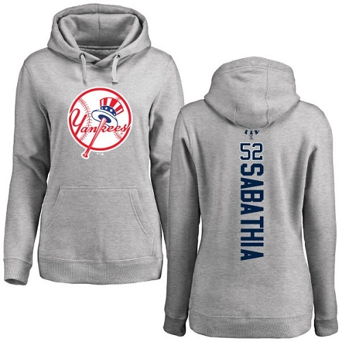 MLB Women's Nike New York Yankees #52 C.C. Sabathia Ash Backer Pullover Hoodie