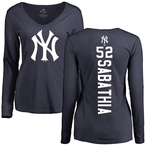 MLB Women's Nike New York Yankees #52 C.C. Sabathia Navy Blue Backer Long Sleeve T-Shirt
