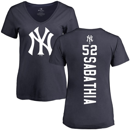 MLB Women's Nike New York Yankees #52 C.C. Sabathia Navy Blue Backer T-Shirt