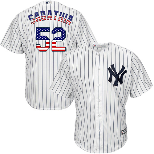 Men's Majestic New York Yankees #52 C.C. Sabathia Authentic White USA Flag Fashion MLB Jersey