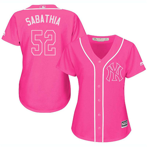 Women's Majestic New York Yankees #52 C.C. Sabathia Authentic Pink Fashion Cool Base MLB Jersey