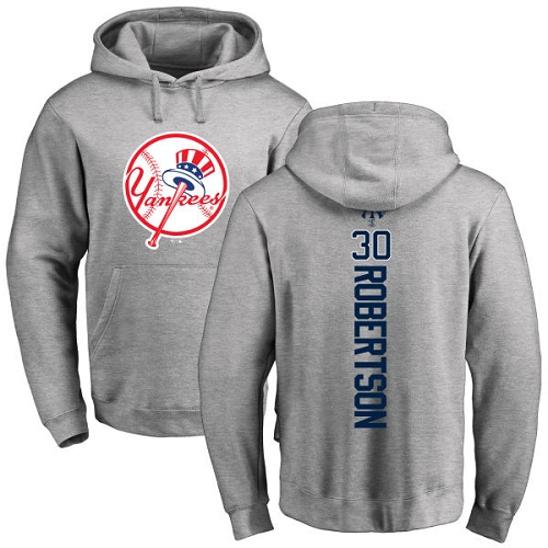 MLB Nike New York Yankees #30 David Robertson Ash Backer Pullover Hoodie