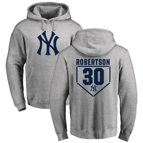 MLB Nike New York Yankees #30 David Robertson Gray RBI Pullover Hoodie