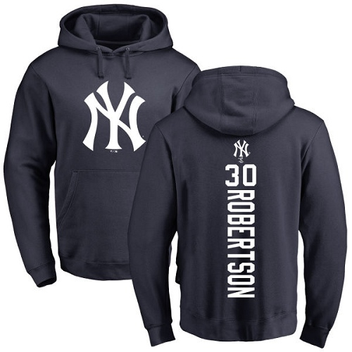 MLB Nike New York Yankees #30 David Robertson Navy Blue Backer Pullover Hoodie